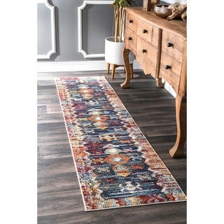 nuLOOM Navy Vintage Southwestern Faded Abstract Tribal Symbols Area Rug