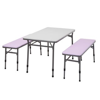 COSCO Blue Kids Adjustable Height 3pc Set, 2 Benches, 1 Table (Option: Pink)