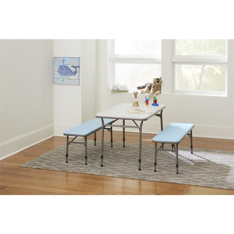 COSCO Blue Kids Adjustable Height 3pc Set, 2 Benches, 1 Table