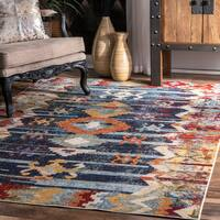 """nuLoom Navy Tribal Symbols Vintage Southwestern Faded Abstract Rug (5'3 x 7'7) - 5'3"""" x 7'7"""""""