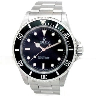 Pre-owned 40mm Rolex Stainless Steel Oyster Perpetual Submariner No Date Watch with Black Dial
