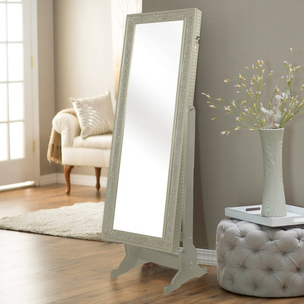 Chic Home Finesse Modern Contemporary Crystal-Bordered Rectangular Jewelry Armoire Cheval Mirror
