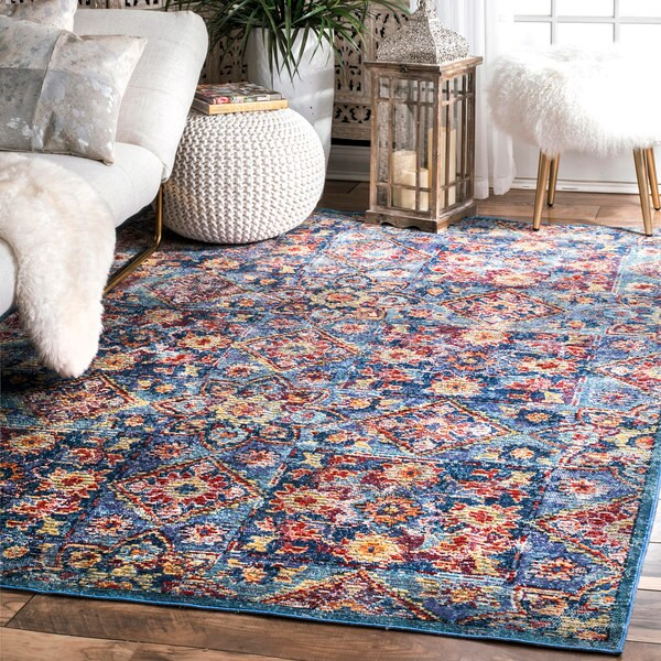 "nuLoom Traditional Blue Fading Ornate Floral Blocks Rug (7'10 x 11') - 7'10"" x 11'"