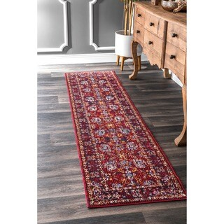 nuLOOM Traditional Fancy Faded Floral Border Burgundy Runner Rug (2' x 8')