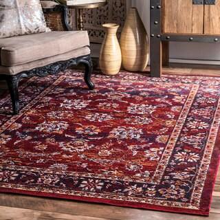 nuLOOM Traditional Fancy Faded Floral Border Burgundy Rug (5'3 x 7'7)