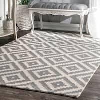 nuLOOM Handmade Abstract Wool Fancy Pixel Trellis Grey Rug (6' x 9') - 6' x 9'