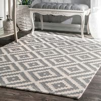 nuLOOM Handmade Abstract Wool Fancy Pixel Trellis Grey Rug - 6' x 9'
