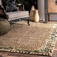 nuLOOM Contemporary Tribal Jungle Leopard Skin Beige Rug (8' x 10')