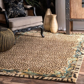 nuLOOM Contemporary Tribal Jungle Leopard Skin Beige Rug (5' x 7'5)