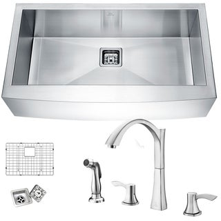 Elysian Farmhouse Stainless Steel 32 in. 0-Hole Single Bowl Kitchen Sink in Satin Finish with Faucet in Brushed Nickel