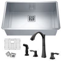 Vanguard Undermount Stainless Steel 30 in. 0-Hole Single Bowl Kitchen Sink with Faucet in Oil Rubbed Bronze