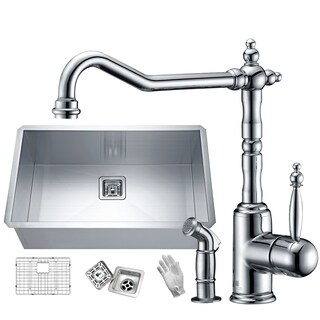 Vanguard Undermount Stainless Steel 30 in. 0-Hole Single Bowl Kitchen Sink with Faucet in Polished Chrome