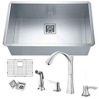 Vanguard Undermount Stainless Steel 30 in. 0-Hole Single Bowl Kitchen Sink with Faucet in Brushed Nickel