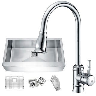 Elysian Farmhouse Stainless Steel 32 in. 0-Hole Single Bowl Kitchen Sink in Satin Finish with Faucet in Polished Chrome