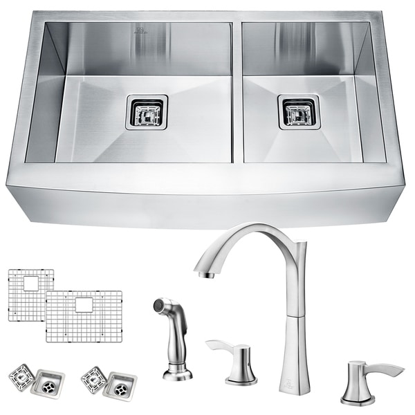 Elysian Farmhouse Stainless Steel 33 In. 0 Hole 60/40 Double Bowl Kitchen