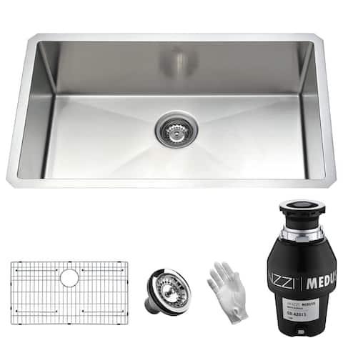 "ANZZI Vanguard 30"" Undermount Single Bowl Kitchen Sink with Medusa Series 1/3HP Garbage Disposal"