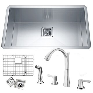 Vanguard Undermount Stainless Steel 32 in. 0-Hole Single Bowl Kitchen Sink in Satin Finish with Faucet in Brushed Nickel