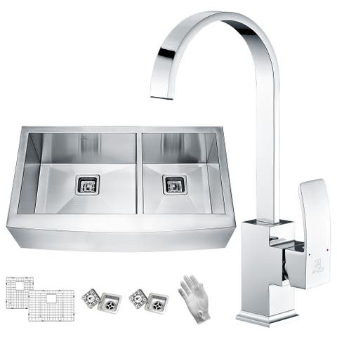 Elysian Farmhouse Stainless Steel 33 in. 60/40 Double Bowl Kitchen Sink with Faucet in Polished Chrome - Silver
