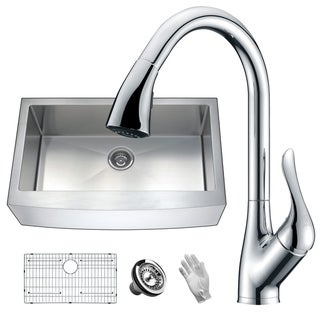 Link to ANZZI Elysian Farmhouse Stainless Steel 36 in. Single Bowl Kitchen Sink with Faucet in Polished Chrome Similar Items in Sinks