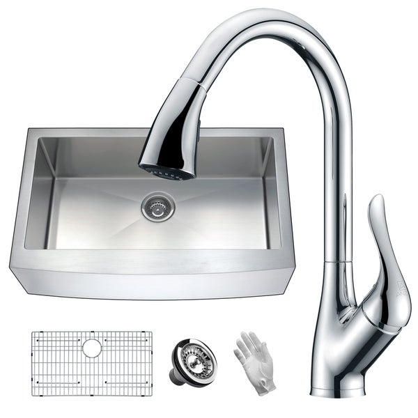 ANZZI Elysian Farmhouse Stainless Steel 36 in. Single Bowl Kitchen Sink with Faucet in Polished Chrome