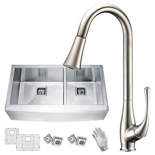 Elysian Farmhouse Stainless Steel 33 in. 0-Hole 60/40 Double Bowl Kitchen Sink with Faucet in Brushed Nickel