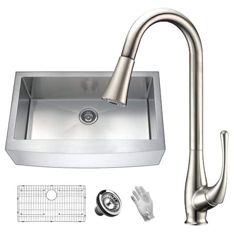 ANZZI Elysian Farmhouse Stainless Steel 36 in. Single Bowl Kitchen Sink with Faucet in Brushed Nickel