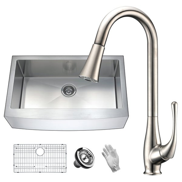 ANZZI Elysian Farmhouse Stainless Steel 36 in. Single Bowl Kitchen Sink with Faucet in Brushed Nickel. Opens flyout.