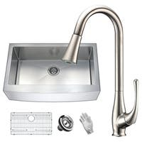 ANZZI Elysian Farmhouse Stainless Steel 36 in. 0-Hole Single Bowl Kitchen Sink with Faucet in Brushed Nickel
