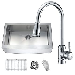Elysian Farmhouse Stainless Steel 36 in. 0-Hole Single Bowl Kitchen Sink with Faucet in Polished Chrome