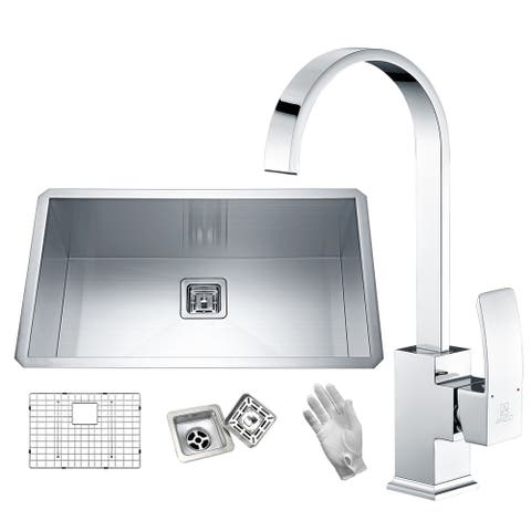 Vanguard Undermount Stainless Steel 32 in. Single Bowl Kitchen Sink in Satin Finish with Faucet in Polished Chrome