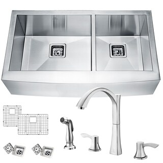 Elysian Farmhouse Stainless Steel 36 in. 0-Hole 60/40 Double Bowl Kitchen Sink with Faucet in Brushed Nickel