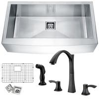 ANZZI Elysian Farmhouse Stainless Steel 36 in. 0-Hole Single Bowl Kitchen Sink with Faucet in Oil Rubbed Bronze