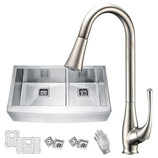 Link to ANZZI Elysian Farmhouse Stainless Steel 36 in. 60/40 Double Bowl Kitchen Sink with Faucet in Brushed Nickel Similar Items in Sinks