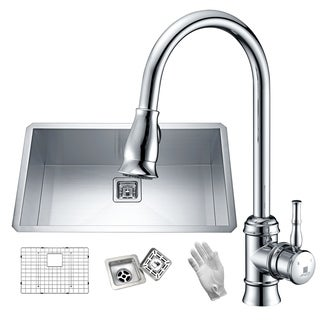 Vanguard Undermount Stainless Steel 32 in. 0-Hole Single Bowl Kitchen Sink in Satin Finish with Faucet in Polished Chrome