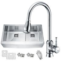 ANZZI Elysian Farmhouse Stainless Steel 36 in. 0-Hole 60/40 Double Bowl Kitchen Sink with Faucet in Polished Chrome