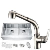 Elysian Farmhouse Stainless Steel 33 in. 0-Hole 60/40 Double Bowl Kitchen Sink with Faucet in Brushed Nickel - Silver