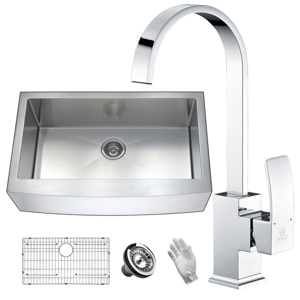 Anzzi Elysian Farmhouse Stainless Steel 36 In 0 Hole Single Bowl Kitchen Sink With