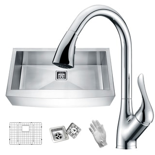 "Link to ANZZI Elysian 36"" Farmhouse Single Bowl Kitchen Sink with Faucet in Polished Chrome Similar Items in Sinks"