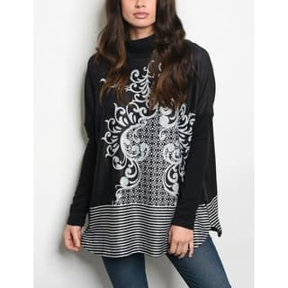 JED Women's Mock Neck Printed Long Sleeve Tunic Top|https://ak1.ostkcdn.com/images/products/18091500/P24249993.jpg?impolicy=medium