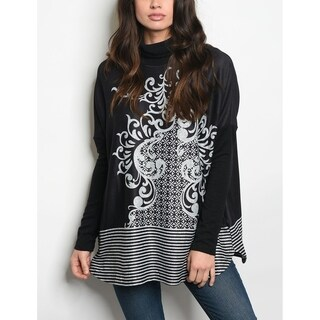 JED Women's Mock Neck Printed Long Sleeve Tunic Top