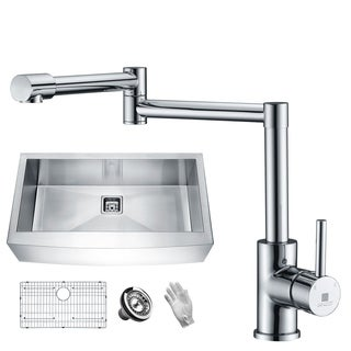 ANZZI Elysian Farmhouse Stainless Steel 36 in. 0-Hole Single Bowl Kitchen Sink with Faucet in Polished Chrome