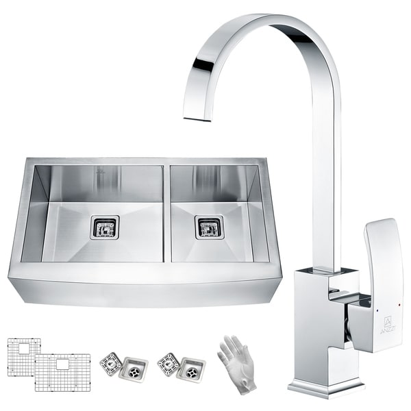 ANZZI Elysian Farmhouse Stainless Steel 36 in. 60/40 Double Bowl Kitchen Sink with Faucet in Polished Chrome
