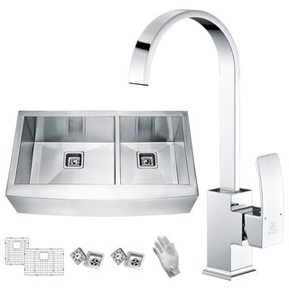 Elysian Farmhouse Stainless Steel 36 in. 0-Hole 60/40 Double Bowl Kitchen Sink with Faucet in Polished Chrome