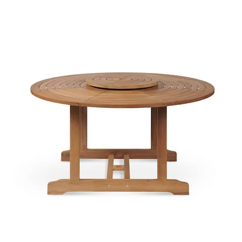 Royal 60 Inch Round Outdoor Teak Dining Table with Lazy Susan