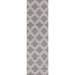 """Porch & Den Elysian Trellis Grey Runner Rug - 2' x 7'2"""" Runner"""