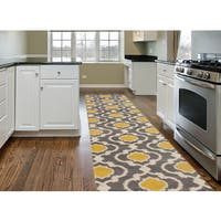 Porch & Den Marigny Touro Trellis Grey/ Yellow Runner Rug - 2' x 7'2