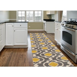 Porch & Den Marigny Touro Trellis Grey/ Yellow Runner Rug - 2' x 7'2""