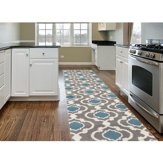 Porch & Den Marigny Touro Trellis Grey/ Blue Runner Rug (2' x 7'2)