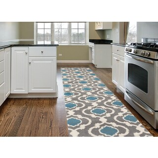 Porch & Den Marigny Touro Trellis Grey/ Blue Runner Rug - 2' x 7'2