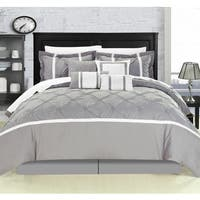 Chic Home Wright Grey Pinch Pleated Embroidered 12-piece Comforter Bed in a Bag